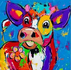 New painting canvas acrylic animals Ideas Canvas Frame, Canvas Art, Cartoon Cow, Cow Painting, Painting Canvas, Cow Art, Abstract Animals, 5d Diamond Painting, Cross Paintings