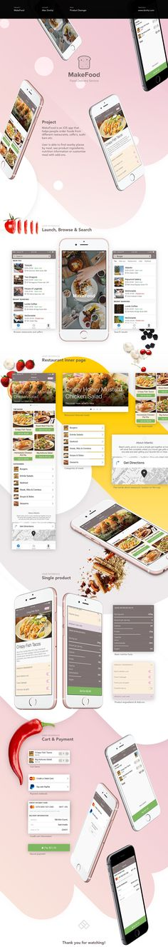 MakeFood is an iOS app that helps people order foods fromdifferent restaurants, caffe's, sushi bars etc.User is able to find nearby places by meal, see product ingredients, nutrition information or customise meal with add-ons.