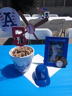 Dodgers centerpieces for my Grandsons 5th bday