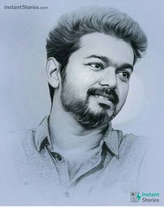 Vijay Latest HD Images / Wallpapers for WhatsApp Status Pencil Drawing Images, Pencil Sketch Portrait, Portrait Sketches, Drawing Sketches, Vector Portrait, Drawing Ideas, Actor Picture, Actor Photo, Actors Images