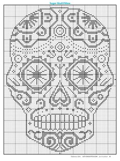 Sugar Skull - 138 x 196 stitches Counted Cross Stitch Pattern needlepoint kreuzstitch point de croix punto de cruz Cross Stitch Skull, Just Cross Stitch, Modern Cross Stitch, Cross Stitch Flowers, Cross Stitch Kits, Cross Stitch Charts, Cross Stitching, Cross Stitch Embroidery, Embroidery Patterns