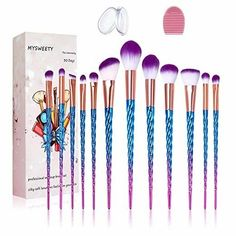Makeup Brush Set, MYSWEETY 2017 Foundation Colorful Unicorn Blending Cosmetic Eyeshadow Brush Silicone Makeup Sponge Makeup Wash Egg Makeup Brush Bag -- To view further for this item, visit the image link. (This is an affiliate link) Best Affordable Makeup Brushes, Best Makeup Brushes, How To Clean Makeup Brushes, Eyeshadow Brushes, Eyeshadow Makeup, Best Makeup Products, Beauty Products, Cosmetic Brushes, Eye Brushes