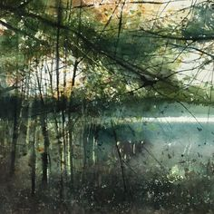 Abstract Landscape Painting, Seascape Paintings, Watercolor Landscape, Landscape Art, Landscape Paintings, Watercolor Trees, Watercolor Artists, Abstract Watercolor, Watercolor Paintings