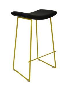$75.Lily Metal Kitchen Bar Stool - Yellow Frame Black Seat