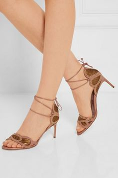 Heel measures approximately 75mm/ 3 inches Dark-beige and gold leather Ties at ankle Made in Italy