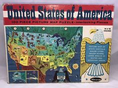 Vintage 1965 United States Of America 100 Piece Picture Map Puzzle Complete | Toys & Hobbies, Puzzles, Vintage Puzzles | eBay!