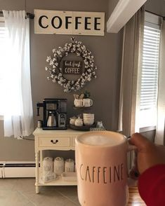 Coffee nook in a house coffee bar farmhouse decor would love to have one set up in the dining room book nook coffee house Coffee Nook, Coffee Bar Home, Coffe Bar, Coffee Area, Coffee Tables, House Coffee, Bar Tables, Coffee Truck, Coffee Coffee