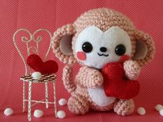 I know a little girl who would LOVE this Valentine's Day Monkey Amigurumi by Janama on Etsy