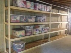 Basement storage shelves. $225 in material and a Saturday afternoon. by annie
