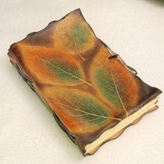 Unique Leather Journal With Leaves