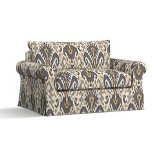 PB Comfort Roll Arm Slipcovered Twin Armchair Sleeper, Knife Edge Polyester Wrapped Cushions, Ikat Geo Gray