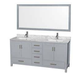 Sheffield 72-inch Gray Double Vanity, Undermount Square Sinks, 70-inch Mirror with options