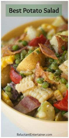 Best Potato Salad recipe for picnics (with fresh corn, bacon, peas, chives!) is the ultimate spring and summer potluck, or side dish to bring to any party!