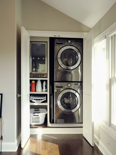 Laundry Room Design - I think I'd like to just put them behind two doors and be done with it!