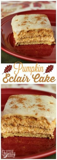 Pumpkin Eclair Cake is like a cross between pumpkin cheesecake and eclairs. One of the EASIEST, and most delicious, fall dessert recipes you will ever make! via @favfamilyrecipz