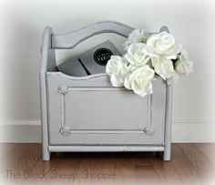 Give your project a new look with paint! This was a country style magazine rack that now has a new feminine look using General Finishes Milk Paint in Seagull Gray.