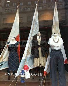 Anthropologie nautical window display, so cute, love the sails.