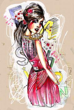 Fashion Illustrations by Smile Banh, via Behance