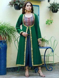 Green Zari Border Angrakha Style Silk Vintage Long Jacket by Bina Ramani (scheduled via http://www.tailwindapp.com?utm_source=pinterest&utm_medium=twpin&utm_content=post80515607&utm_campaign=scheduler_attribution)