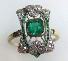Art Nouveau emerald and diamond ring 1903