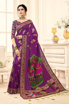 Buy Party wear Sarees Online with All Types Collections Like Designer Party Wear saree,Bollywood party wear saree,Silk Party wear saree,wedding party wear saree and More. Lehenga Saree, Sari, Anarkali, Art Silk Sarees, Silk Sarees Online, Saree Blouse Designs, Blouse Styles, Choli Designs, Purple Saree