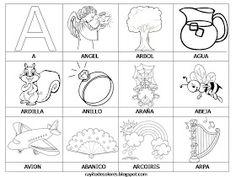 Alfabeto en palabras de la A a la Z. | Palabras con A vía rayitodecolores.blogspot.com