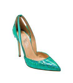 Go green in the season's chicest verdant styles at #ShopBAZAAR - Alejandro Ingelmo Flavia Heel
