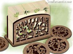 Scroll Saw Patterns :: Handy items :: Napkin/Serviette holders & coasters :: Hummingbird & flowers serviette holder & coasters -
