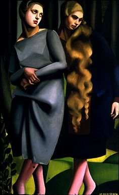 Tamara de Lempicka: Irene and Her Sister - 1925 - Oil on canvas - - Style: Art Deco Art Deco Artists, Art Deco Paintings, Harlem Renaissance, Paul Klee, Pinturas Art Deco, Tamara Lempicka, Moda Art Deco, Estilo Art Deco, Sisters Art