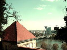 Puente Nuevo Bratislava, Louvre, Cabin, House Styles, Building, Travel, Home Decor, Bridges, Voyage