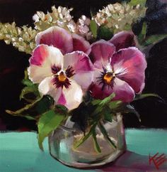Pansies in a jar - Original Fine Art for Sale - © by Krista Eaton