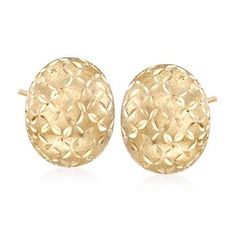 Ross-Simons - 14kt Yellow Gold Brushed and Faceted Dome Earrings - #238885