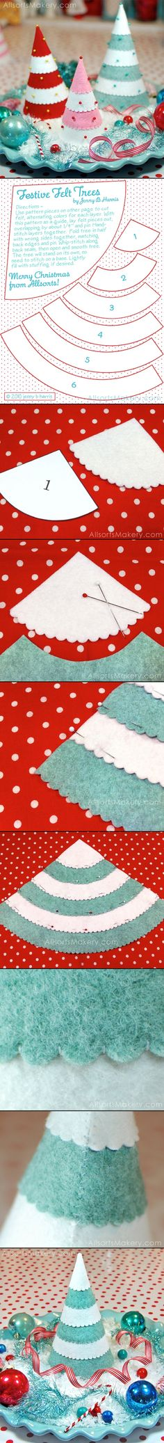 Red white turquoise & pink kitchy felt Christmas Trees