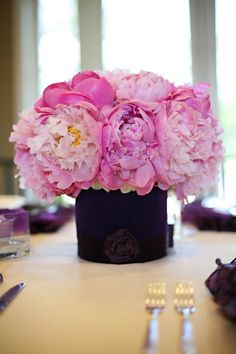pretty black fabric wrapped vase...pink peonies