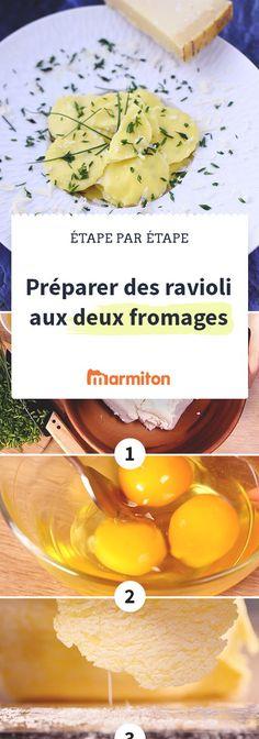 Préparer des ravioli aux 2 fromages maison, c'est plus simple qu'il n'y paraît grâce à notre pas à pas recettes photos #recette #marmiton #recettemarmiton #cuisine #ravioli #recetteravioli #fromage
