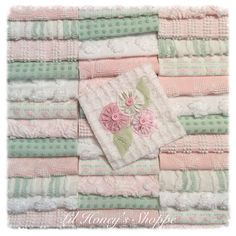 "Chenille fabric quilt squares 42-6"" blocks, soft pink & green, very shabby chic, vintage bedspread fabric by lilhoneysshoppe on Etsy"