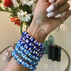 Evil Eye Jewelry, Evil Eye Bracelet, Blue Beads, Turquoise Beads, Greek Evil Eye, Adjustable Bracelet, Glass Beads, Charms, Beaded Bracelets