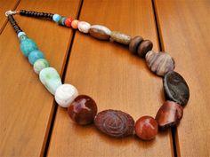 Stone Bead Necklace Gemstone Necklace Semi-Precious Stones Chunky Necklace Ethnic Shells Jewelry Large Stone Jewelry Statement Necklace