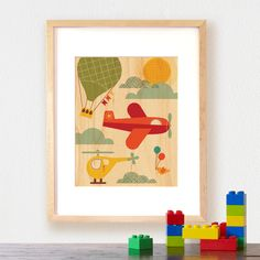 modern by air transportation print on wood from petit collage