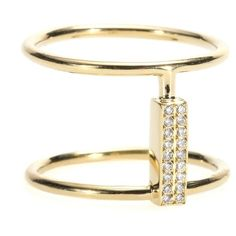 Ileana Makri 18kt Yellow Gold Ring With White Diamonds ($1,070) ❤ liked on Polyvore featuring jewelry, rings, gold, gold jewellery, ileana makri, gold jewelry, gold rings and yellow gold jewelry