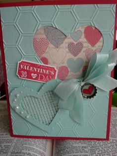 Valentine card using dry wall tape.  Stampin' Up!