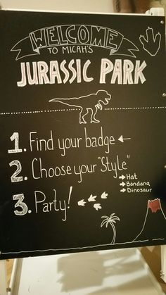 Jurassic Park party sign