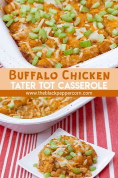Buffalo Chicken Tater Tot Casserole Recipe - Great pub food and \ comfort food combined. Buffalo chicken with blue cheese covered with Tater Tots and grated cheese. Baked and then topped with celery before serving. Cream Of Chicken Casserole, Beef Tater Tot Casserole, Tater Tot Bake, Tater Tot Recipes, Potatoe Casserole Recipes, Casserole Dishes, Recipe Using Chicken, Chicken Recipes, Chicken Breakfast