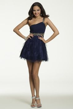 One Shoulder Dress with Beaded Cumberbund from Camille La Vie and Group USA #homecoming #homecomingdresses