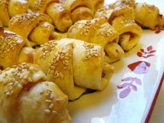 Mini-croissants de queijo e fiambre
