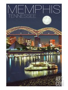 Memphis, Tennessee - Memphis Skyline at Night Stretched Canvas Print by Lantern Press at Art.com