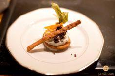 """Dessert: """"Il cannolo éphémère"""" : mousse de ricotta aux agrumes confits, chocolat noir 70% et """"frappa"""" croustillante"""