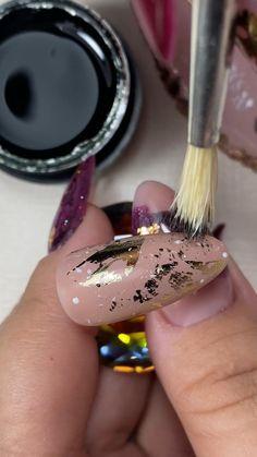 Diy Acrylic Nails, Gel Nail Art, Nail Art Diy, Gel Nails, Edgy Nails, Stylish Nails, Trendy Nails, Nail Art Designs Videos, Nail Art Videos