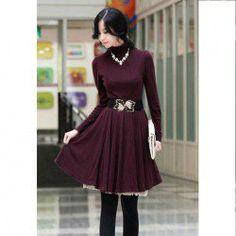 $8.93 Elegant High Neck Long Sleeve Solid Color Knitting Dress For Women With Blet