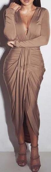 Romoti What You See Plunging Neck Irregular Folded Dress